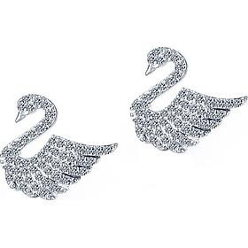 Bông tai nữ bạc 925 thiên nga pha lê trắng