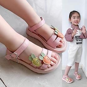 Dép sandal bé gái quai họa tiết cà rốt dễ thương cho bé 1 - 12 tuổi đi học đi biển quai hậu thời trang SG50