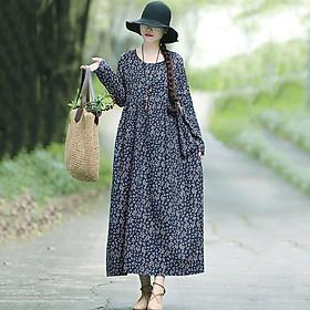 Váy Vải Lanh Tay Dài Cổ Tròn Vintage