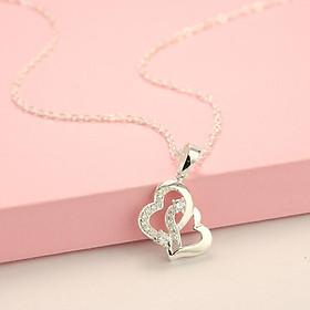 Dây chuyền, vòng cổ bạc nữ mặt trái tim đôi đính đá dễ thương DCN0445