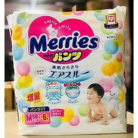 Bỉm quần Merries size M 58+6 nội địa Nhật cộng miếng (Cho bé 6 - 11kg)