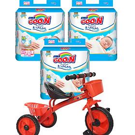 Combo 3 gói tã dán Goo.n Premium NB70/S64/M60/L50/XL46 tặng xe đạp 3 bánh cho bé (ngẫu nhiên)