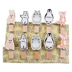 Bộ Kẹp Ảnh Gỗ Thỏ, Gấu, Totoro, Cánh Cụt, Cáo