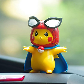 Pikachu Cos Spider-Man Iron Man Car Accessories Decoration Pokemon Automobile Ornament