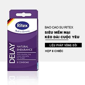Bao cao su RITEX DELAY - Kéo dài thời gian Liệu pháp vòng đôi (Hộp 8 chiếc) JN-RI-DELAY8