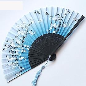 Quạt cổ trang dây tuyến nền xanh hoa trắng quạt xếp cầm tay phong cách Trung Quốc quạt trúc cầm tay quạt cổ trang in hoa trang trí tặng ảnh thiết kế vcone