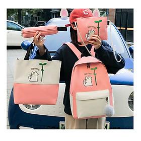 Balo Nữ combo 4 món Sinh Phong Cách Hàn Quốc , Ba lô thời trang học sinh, sinh viên đi học ulzzang ( mầm mèo)