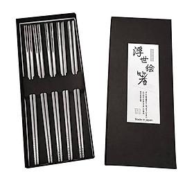 Hình đại diện sản phẩm 2 bộ 5 đôi đũa inox đặc ruột - Tặng bát inox ăn cơm nội địa Nhật Bản