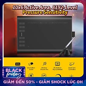 Bảng vẽ micro USB Huion H1060P với 12 nút phím cơ đi kèm với bút vẽ lớn không pin