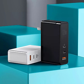Củ sạc nhanh Baseus GaN 120W 120W PD3.0 QC3.0 SCP FCP 3 cổng sạc với 2 cổng Type-C và 1 cổng sạc mini cho laptop