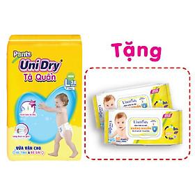 Tã quần UniDry G1 L38 tặng 1 khăn giấy ướt UniFresh vitamin E