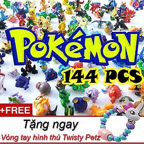Bộ sưu tập mô hình đồ chơi Pokemon đa hệ 144 chi tiết tặng kèm vòng tay biến hình thú Twisty Petz dễ thương cho các bé