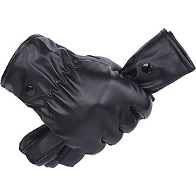 Găng tay da nam cảm ứng điện thoại lót bông ấm