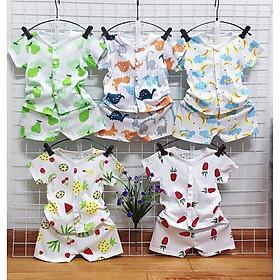 Combo 5 bộ quần áo cọc tay cotton giấy mặc mùa hè cho bé từ 0-15 tháng tuổi (HOT)