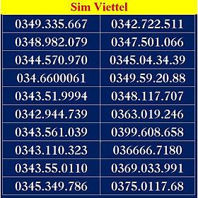 SIM SỐ ĐẸP VIETTEL - LIST DS4 - Số dễ nhớ, thần tài, lộc phát, số cặp - Chọn Số Theo List - Đăng ký đúng chủ