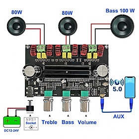 2*80W+100W TPA3116D2 Power Subwoofer Amplifier Board 2.1 Channel Audio Stereo Equalizer AUX Class D Amp