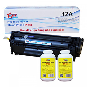 COMBO Hộp mực Thuận Phong 12A (TỰ NẠP) + 2 lọ mực đổ TP03 dùng cho máy in HP LJ 1010/ 1020/ 3030/ 3050/ Canon LBP 2900/ 3000/ MF 4000/ 4100 - Hàng Chính Hãng