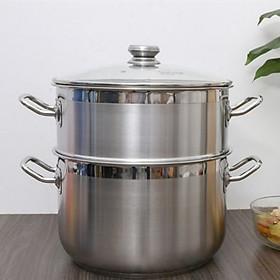 Bộ nồi xửng hấp inox 430 FiveStar Standard 3 đáy bếp từ nắp kính tặng 2 muỗng canh ( 26cm/28cm/30cm/32cm)