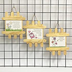 Quà tặng động viên tranh treo handmade (mỗi tranh có thông điệp khác nhau) - Bộ 3 tranh so le chủ đề hoa với những thông điệp yêu thương