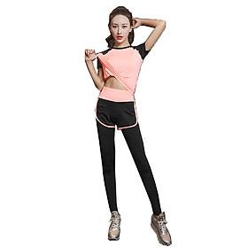 Bộ quần áo tập gym, yoga, thể thao nữ quần dài, áo ngắn tay hàng cao cấp - A08