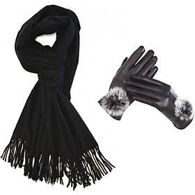 Khăn len quàng cổ nữ tặng kèm găng tay lót nỉ ( Đen)