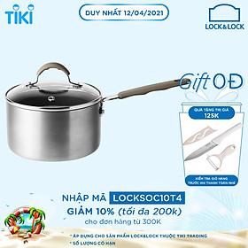 Nồi Sâu Lòng Lock&Lock Handycook Có Tay Cầm Và Nắp Đậy 14cm LHD1141 - Màu Xám
