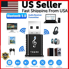 Bluetooth 5.0 Audio Transmitter Receiver Usb Adapter For Tv Pc Car Aux Speakers