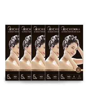 COMBO 5 hộp Thuốc nhuộm tóc phủ bạc thảo dược Richenna EZ Speedy Hair Color Perfume dạng dầu gội hương nước hoa 60G
