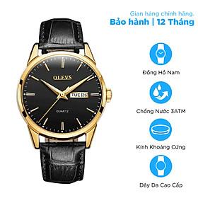 Đồng hồ nam OLEVS dây da kim dạ quang OL6898 - Chống nước chống xước cao cấp