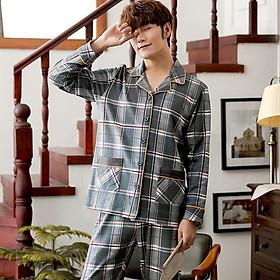 Đồ bộ PIJAMA NAM dài tay họa tiết Caro nam tính, chất Cotton 100% thông thoáng mùa hè, style Hàn Quốc thời thượng