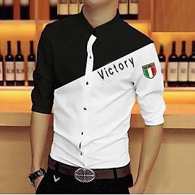 áo sơ mi nam phối hai màu đen trắng