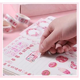 Set Combo Hộp 10 cuộn Washi tape và 10 Hình Dán Sticker Cao Cấp Họa Tiết Cô Gái Dễ Thương