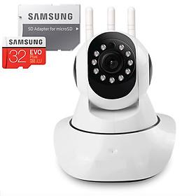 Camera IP Wifi 3 Râu Dùng Phần Mềm YooSee - Hàng Nhập Khẩu đi kèm thẻ 32gb Samsung + Adapter