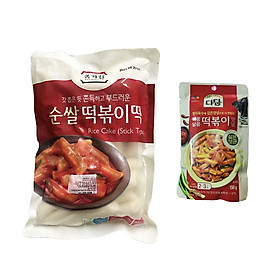 Combo Bánh Gạo TOPOKKI JongGa Cao Cấp 500G Và Sốt Nấu Bánh Gạo Cay Ngọt Tokbokki Beksul Gói 150G - Nhập Khẩu Hàn Quốc