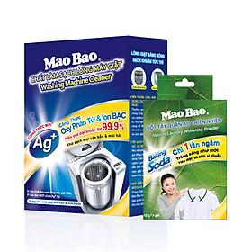 Combp 01 Hộp Vệ Sinh Máy Giặt Mao Bao chứa Ion Bạc 306g + 01 hộp Bột Tẩy Quần Áo Thiên Nhiên Baking soda x5 gói