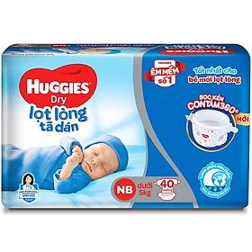Tã Dán Sơ Sinh Huggies NB40 (Dưới 5kg) - Gói 40 miếng - Bao bì mới