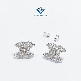 Bông tai bạc bông chữ X đính đá lấp lánh