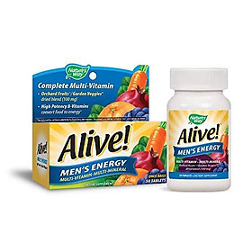 Nature's Way Alive! Men's Energy Multivitamin Tablets, Fruit and Veggie Blend, 50 Tablets