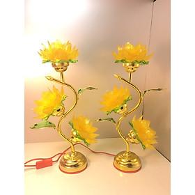 Đèn thờ cắm điện hoa sen ngàn cánh  3 bông ( đèn bóng led tiết kiệm điện)