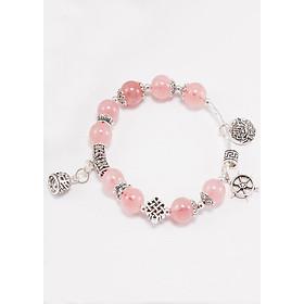 Vòng tay thạch anh hồng phối charm chuông bạc (8mm) Ngọc Quý Gemstones