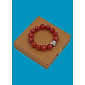 Vòng đeo tay đá Mã Não đỏ 14 ly cẩn hạt Phật A Di Đà inox bạc VMNONLT14 HỘP GỖ - hợp mệnh Hỏa, mệnh Thổ