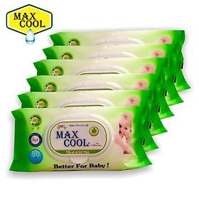 Combo 6 Gói Khăn Ướt Max Cool 80 Tờ Không Hương ( 80 Tờ x 6 )