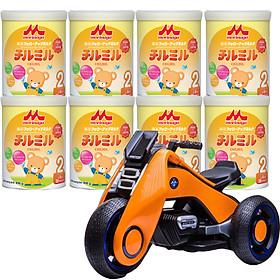 Combo 8 hộp Sữa Morinaga Số 2 Chilmil (850g) và xe máy điện trẻ em VBC-6199