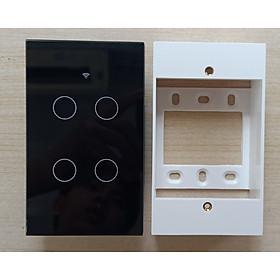 Công tắc cảm ứng Wifi thông minh 4 chạm - HCN màu đen tặng kèm đế nổi gắn tường - Hàng nhập khẩu