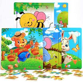 Set 4 bộ ghép hình cơ bản cho bé 3-6 tuổi 16 miếng-mix mẫu ngẫu nhiên