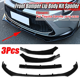 3x Front Bumper Lip Body Kit Spoiler Glossy Black For Toyota Corolla 2019-2020