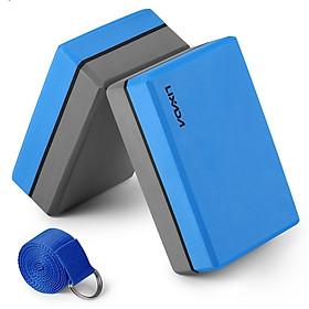 Lixada 2 Pack Yoga Blocks with Yoga Strap EVA Foam Exercise Yoga Blocks Bricks Set for Stretch Flexibility Alignment-1