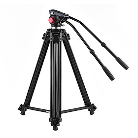 Chân Đỡ Máy Ảnh Tripod Hợp Kim Nhôm Andoer Và Tay Cầm Thủy Lực Kép Cho Máy Quay Phim DSLR Canon Nikon Sony (170 cm)(10Kg)
