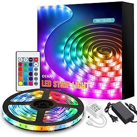 Bộ đèn led dây dán 5050 đổi nhiều màu RGB bằng điều khiển phủ silicon chống nước,  có sẵn keo dán trang trí bàn làm việc, tường thạch cao, ô tô