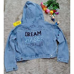 áo khoác jeans nữ có nón- chữ thêu sau free size
